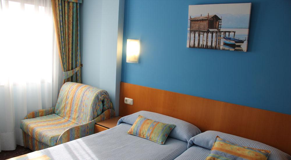 El Hotel Aitana dispone de 19 habitaciones individuales, dobles y cuádruples