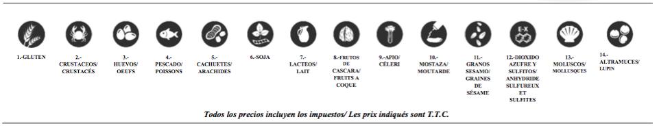 Menú del día en Irún Lista de productos que pueden crear alergias o intolerancias